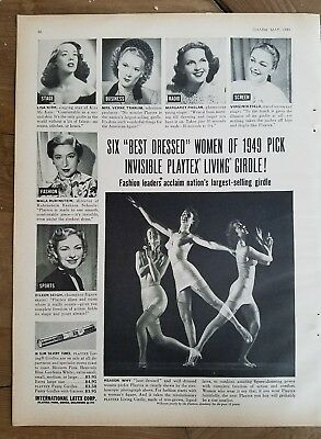 Best dressed women of 1949 Peck and visible Playtex living girdle fashion ad