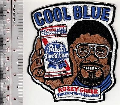 Beer Football Rosey Grier & Pabst Blue Ribbon 'Cool Blue 1970's Promo Patch Milw