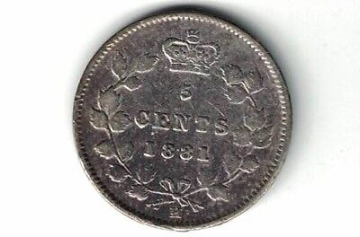 Canada 1881H Five Cents Small Nickel Queen Victoria Sterling Silver Coin