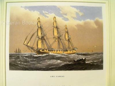 Antique Colour Lithographic Print HMS Diamond Victorian Ships Of Royal Navy