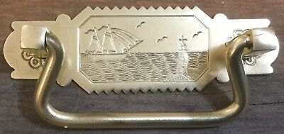 Antique BRASS Drawer Pulls ~ Etched SAILBOAT & LIGHTHOUSE ~ Set 6 ~ UNUSUAL!