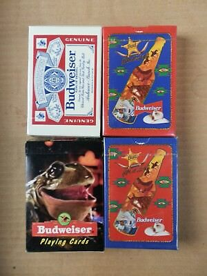 4 different Decks of Budweiser Playing Cards