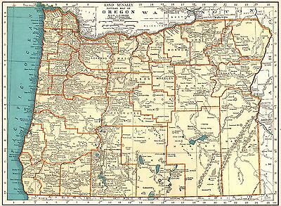 1934 VINTAGE OREGON Map Antique Map of Oregon State Map Gallery Wall ...