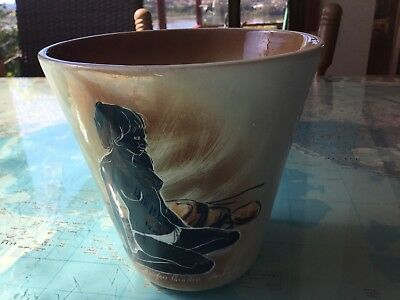 Studio Anna 60s Hand Painted Planter Pot Aboriginal Theme Australian Pottery VGC