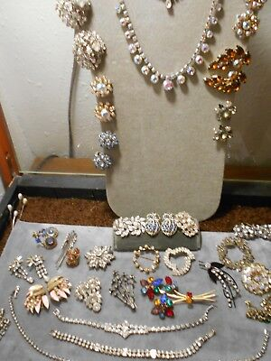 32 Piece Lot Of Vintage Rhinestone Jewelry, All Wearable, No Missing Sets