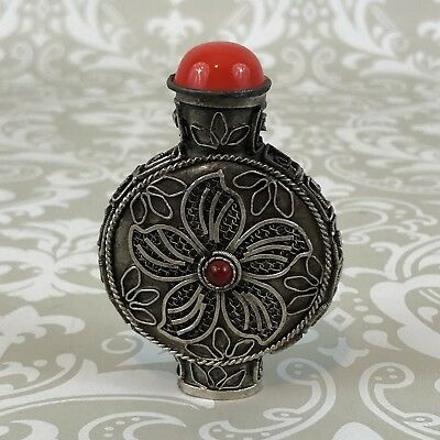 Detailed Metal Snuff Bottle With Red Top