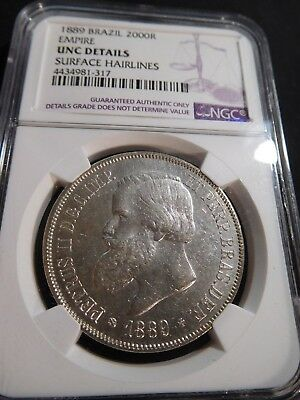 Th180 Brazil 1889 Silver 2000 Reis NGC UNC Details surface hairlines