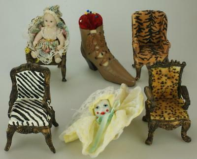 Lot of 7 Miscellaneous Items Porcelain Doll Miniature Resin Chairs Homeart SA273
