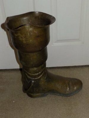 Vtg Lg Hand Forged Antique Brass Boot Shape Umbrella Stand