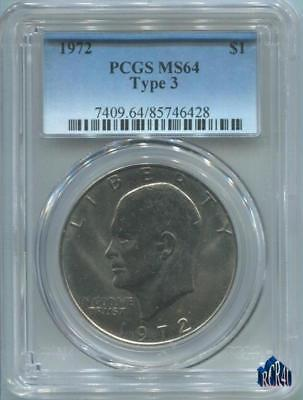 PCGS 1972-P MS-64 TYPE 3 KEY DATE EISENHOWER DOLLAR! COMBINE SHIPPING No ReSeRvE