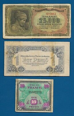 Greece Axis Occ, Hungary Russia Army Occ Pengo 1944 M-2a, France 10 Francs WW2