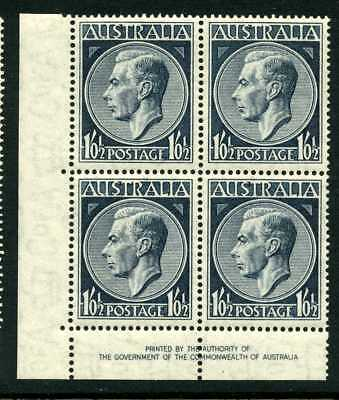 Australia 1952 GVI 1/0 1/2d - Imprint Block of 4 - perfs in selvage - MUH/Mint
