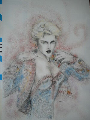 *  MADONNA '80 Years  * -  Ritratto bellissimo carboncino , cm 33 X 48