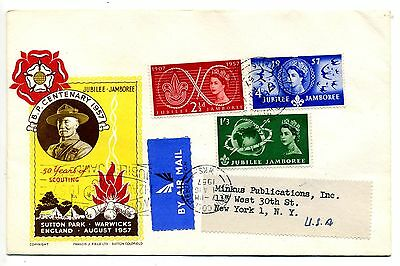 1957 World Scout Jubilee Jamboree FDC with slogan and Sutton Coldfield CDS