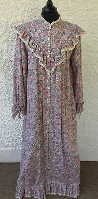 Vintage Trickey Cotton & Wool Pink & Green Floral Full Length Nightdress