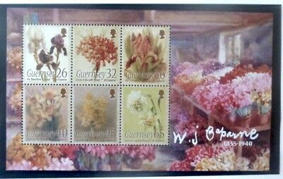 Guernsey 2005 William J Caperne Flower Paintings Miniature Sheet MNH