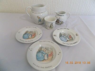 "Wedgwood Beatrix Potter ""peter Rabbit"" Collection ,2 Jugs, Egg Cup & 3 Pin Trays"