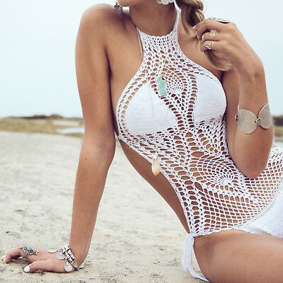 USA Women's Crochet Monokini Swimsuit One Piece Bathing Suit Bohemian Festival