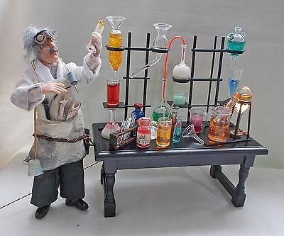 Dollhouse Miniature Apothecary Laboratory Work Table Jekyll or Sherlock Holmes