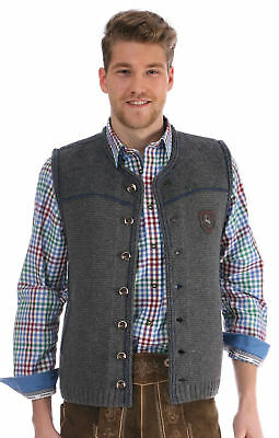 Traditional Costume Vest Ramsau Grau-Denimblau