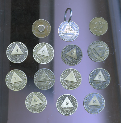 lot of 14 circa 1985 Alcoholics Anonymous Medallion Recovery Tokens, AA,