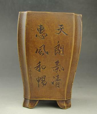 chinese old Yixing purple sands hand engraving  purple sands square  flowerpot