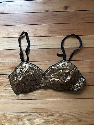 Vintage PRINCESS Black And Gold Lame' Pinup Girl Bra Size 34 B