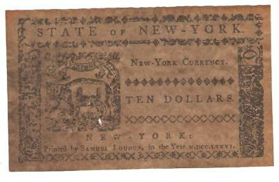1776 New York Colonial Currency 10 dollar-NO RED INK
