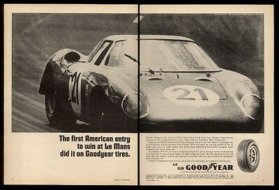 1965 Ferrari 250LM 250/LM race car racing photo Goodyear tires vintage print ad