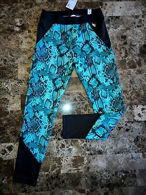 NWT Girls JUSTICE Active Green Black Snakeskin Leggings Pants Size 10