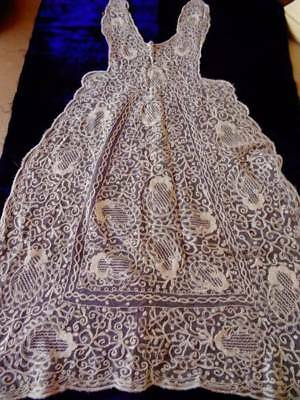 An Exquisite Victorian Tambour Lace Christening Gown Front Panel C.1880