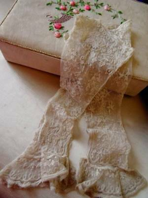 An Exquisite Pair Victorian Tambour Lace Wedding Sleeves C.1880