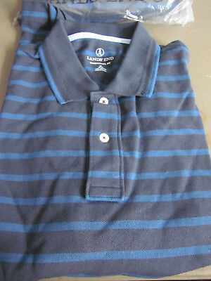 0f1ce6c40fb66 New Lands End Mens S s Mesh Polo Shirt - Traditional Fit - Indigo Stripe