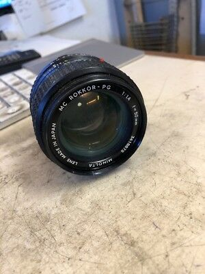 Minolta Rokkor-PG  MC 50mm f 1.4  Prime Lens for Film camera / needs cleaning