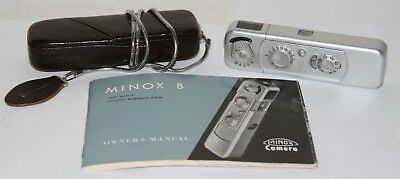 Minox Model B Miniature Camera Made In Germany 1961 + Case, Chain & Book NICE