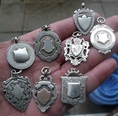 Eight Vintage & Antique Sterling Silver Pocket Watch Chain Fobs, Medals.