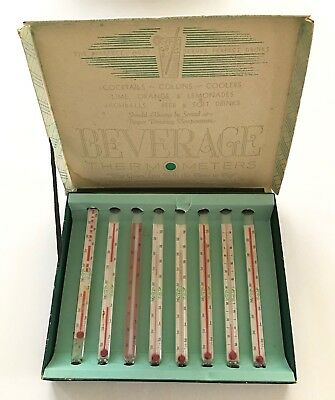 Vintage 1940 Box of Eight (8) Beverage Glass Thermometers
