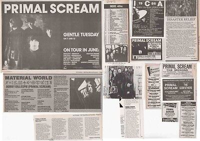 PRIMAL SCREAM : CUTTINGS COLLECTION -adverts- 1980s