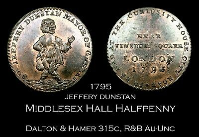 1795 Middlesex Hall's Conder Halfpenny D&H 315c, 80% lustre