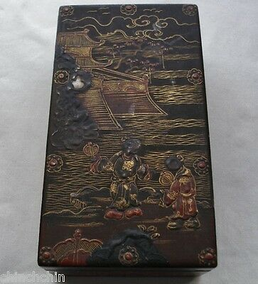 INCREDIBLY Exquisite ANTIQUE Lacquer Wood BOX Museum Quality CHINESE or JAPANESE