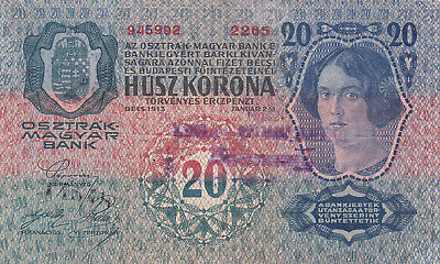 20 Kronen Vf Note With A Stamp From Military Of Yugoslavian Kingdom 1920!r