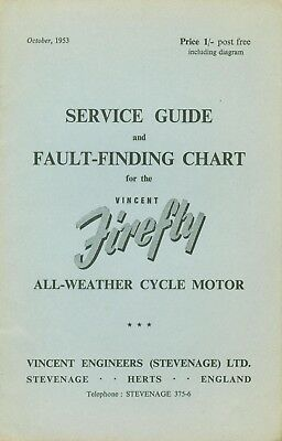 Vincent Firefly Service Guide and Fault-finding Chart Original Book 1953