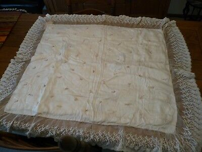 Antique Baby Carriage Robe Blanket Exquisite Lace! With Provenance Circa 1900