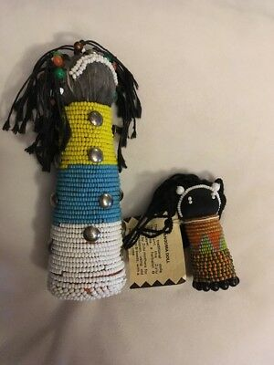 Lot 2 Traditionl Beaded Folk Art Sangoma ZULU Doll Dolls