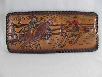 Vintage Western Cowboy Tooled Leather Bi-Fold Wallet Bull Rider Horse Colorized