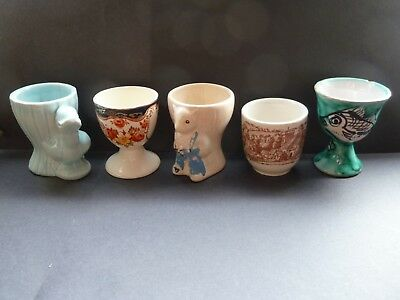 Egg Cups x 5 Sooty Duck Fish Vintage