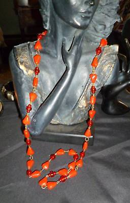 """Art Deco 1930s 40s Vintage Bright Red Glass Bead Chain Flapper Necklace 36"""""""