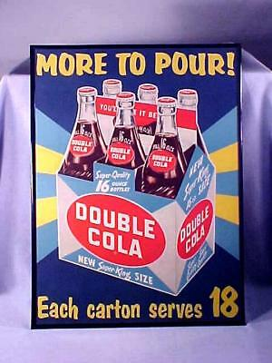 Large Vintage DOUBLE COLA SIX PACK CARTON LITHO SIGN NEW OLD STOCK FRAMED 1950s