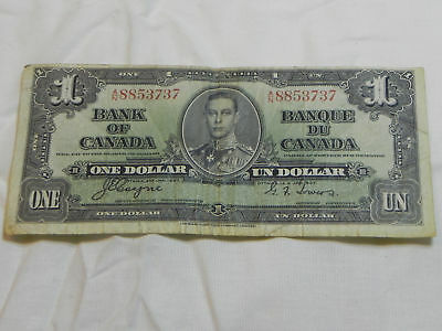 Mis-Cut One Dollar Bank Note From Canada 1937 In Circulated Condition
