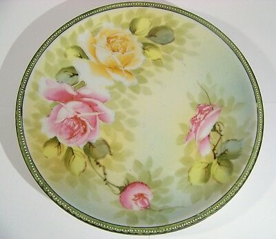 Nippon Hand Painted Roses Jeweled Plate 9 7/8 inch